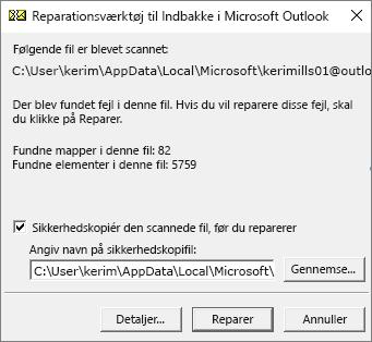 Viser resultaterne af en scannet Outlook .pst-datafil ved hjælp af Microsoft-værktøjet til reparation af indbakken, SCANPST.EXE