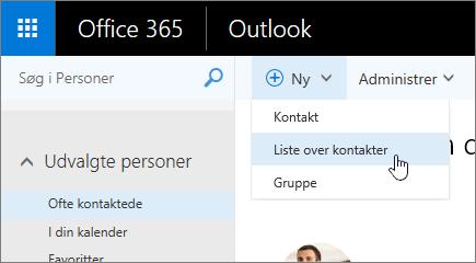 Skærmbillede af Ny kommando, hvor Liste over kontakter er markeret.