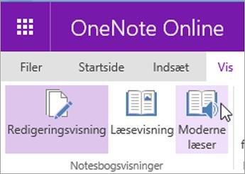 Åbn Learning funktioner i OneNote Online ved at vælge fanen Vis