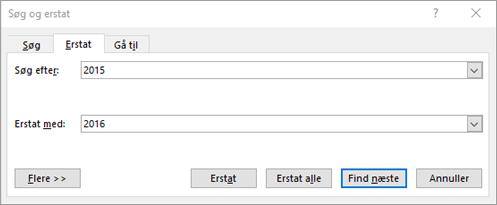 Søge efter og erstatte tekst