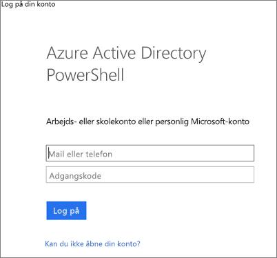 Angiv dine Azure Active Directory-legitimationsoplysninger for administratorer