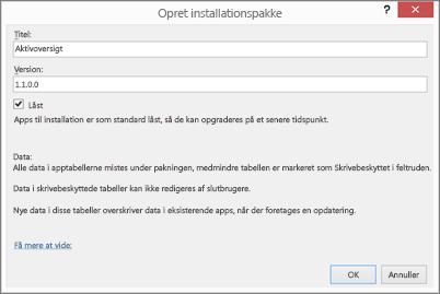 Dialogboksen Opret installationspakke