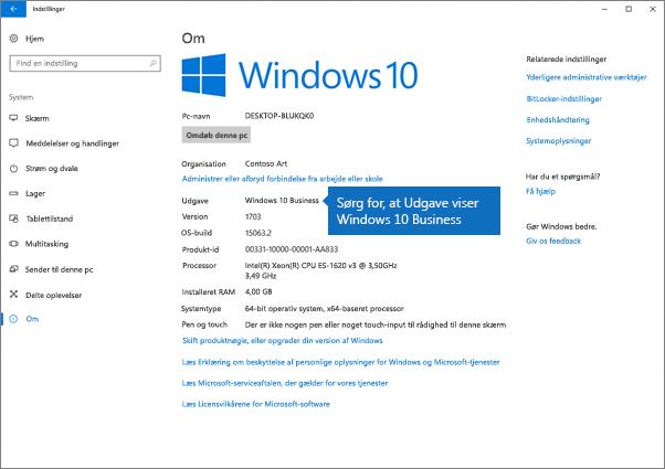 Kontroller, at Windows-udgaven er Windows 10 Business.