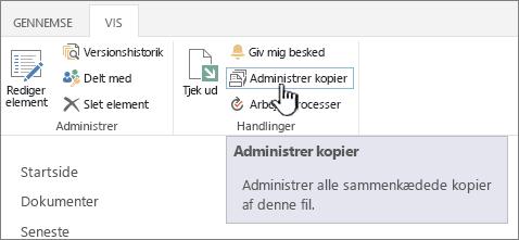 Administrere kopier på kilde-båndet