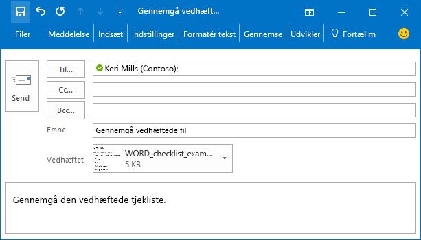 Et eksempel på en e-mail-meddelelse, der indeholder en vedhæftet fil.