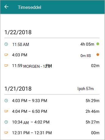 Dette er, hvordan en medarbejders timeseddel ser ud på StaffHub mobilappen.