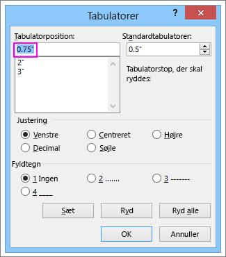 Dialogboksen Tabulatorstop i Word