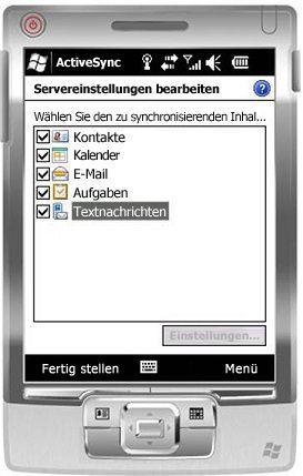 Aktivieren des Kontrollkästchens 'Textnachrichten' unter Windows Mobile 6.5