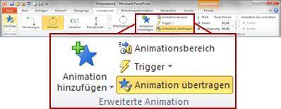 Registerkarte 'Animationen' im PowerPoint 2010-Menüband