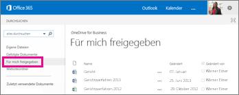 OneDrive for Business-Link 'Für mich freigegeben'