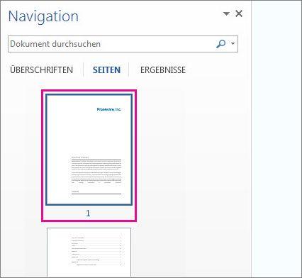 Miniaturansichten von Seiten im Navigationsbereich