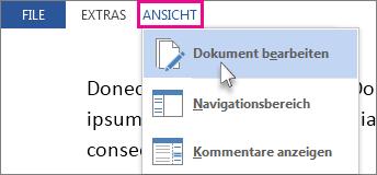 Abbildung eines Teils des Menüs 'Ansicht' im Lesemodus mit ausgewählter Option 'Dokument bearbeiten'.