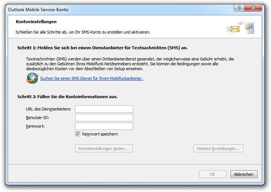 Suchen eines SMS-Dienstanbieters