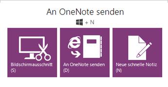 Das Tool 'An OneNote senden'