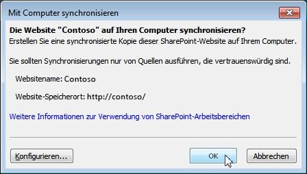 """Das Dialogfeld """"Mit Computer synchronisieren"""""""
