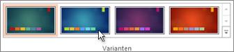 Eine Variation des Designs auswählen