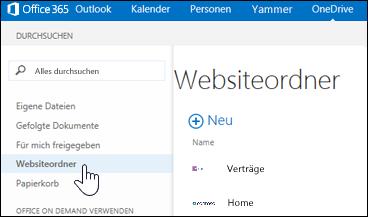 Wählen Sie Websiteordner aus, um Websites zu finden, denen Sie folgen und die Dokumentbibliotheken enthalten