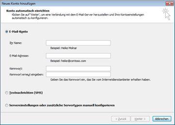 Dialogfeld 'Neues Konto hinzufügen' mit ausgewähltem E-Mail-Konto