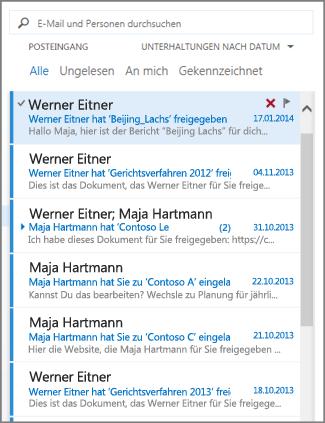 Outlook-Nachrichtenliste