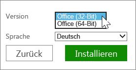 Auswählen von 32- oder 64-Bit