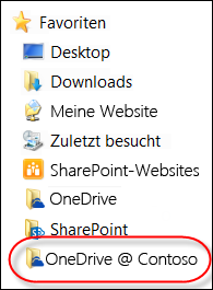 Synchronisierter OneDrive for Business-Ordner in den Favoriten im Datei-Explorer