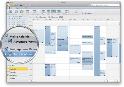 Anzeigen mehrerer Kalender in Outlook
