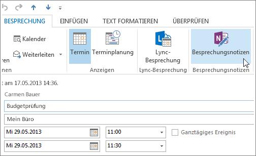 Erfassen von Notizen in einer Outlook-Besprechung