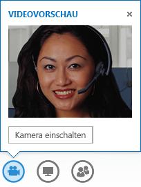 """Screenshot einer Videovorschau mit aktivierter Option """"Kamera einschalten"""""""