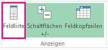 Schaltfläche 'Feldliste' auf der Registerkarte 'Analysieren'