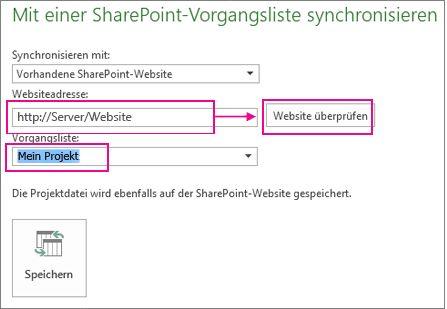 Speichern eines Projekts auf SharePoint