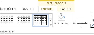 Registerkarte 'Tabellentools'