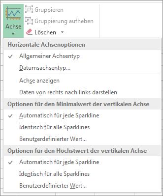Schaltfläche 'Achse' auf der Registerkarte 'Entwurf' in 'Sparklinetools'