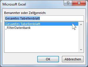 Dialogfeld 'Microsoft Excel' in Word