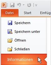 Registerkarte 'Datei', Option 'Info'