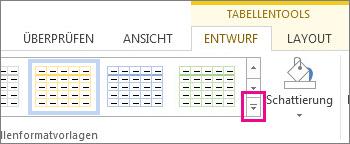 Katalog 'Tabellenformatvorlagen' und Schaltfläche 'Weitere'