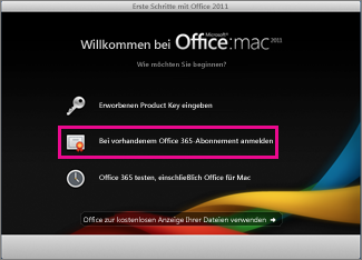 Office für Mac Home-Installationsseite