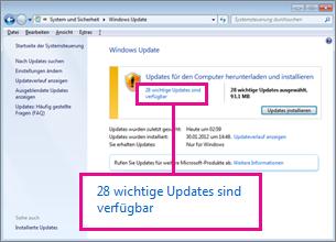 Links im Bereich 'Windows Update'