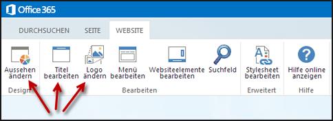Menüband der Registerkarte 'Website' auf der öffentlichen Website mit Schaltflächen 'Aussehen ändern', 'Titel bearbeiten' und 'Logo ändern'