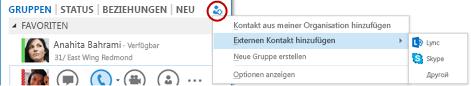 Hinzufügen eines externen Kontakts in Lync