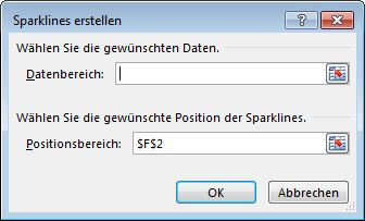 Dialogfeld 'Sparklines erstellen'