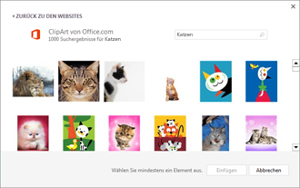Beispiel für Grafiken von Katzen auf der ClipArt-Website