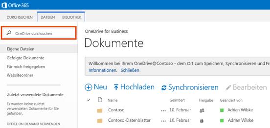 Das Abfragefeld in OneDrive