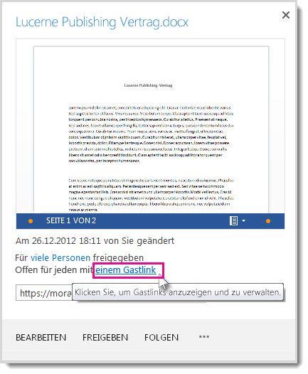 Dialogfeld 'Eigenschaften', das angibt, dass ein Dokument mithilfe eines Gastlinks freigegeben wurde