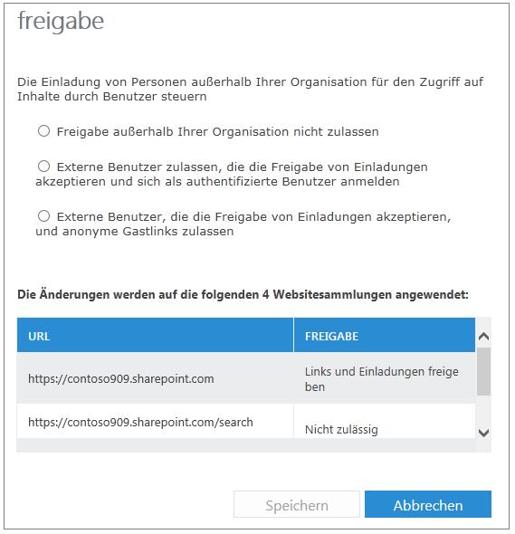 Freigabedialogfeld mit Einstellungen für zwei Websitesammlungen