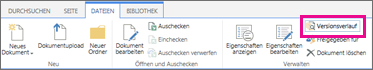 Screenshot der Registerkarte 'Dateien' mit hervorgehobener Schaltfläche 'Versionsverlauf'