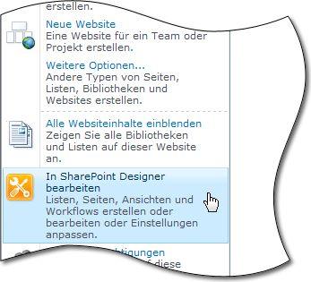 SharePoint Designer2010 im Menü 'Websiteaktionen'