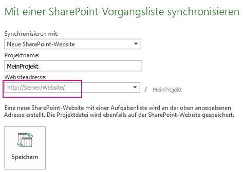 Bild 'Synchronisieren mit einer neuen SharePoint-Website'