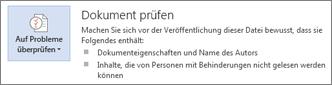 'Dokument prüfen' in Word 2013