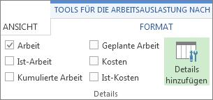 Tools für die Arbeitsauslastung nach Vorgängen, Registerkarte 'Format', Schaltfläche 'Einzelheiten hinzufügen'