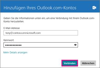 Windows 8 Mail-Seite 'Outlook-Konto hinzufügen'
